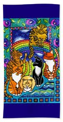 Meet Me At The Rainbow Bridge - Cat Painting Beach Towel