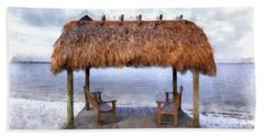 Meet Me Under The Chickee Hut Beach Towel
