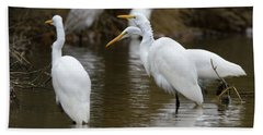 Beach Towel featuring the photograph Meeting Of The Egrets by George Randy Bass