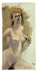 Beach Sheet featuring the painting Megan by Ray Agius