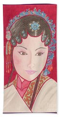 Mei Ling -- Portrait Of Woman From Chinese Opera Beach Towel