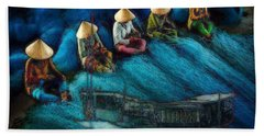 Beach Sheet featuring the painting Mekong Weavers by Mojo Mendiola