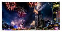 Beach Towel featuring the photograph Melbourne Fireworks by Ray Warren