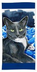 Melo - Blue Tuxedo Cat Painting Beach Sheet