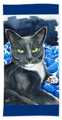 Melo - Blue Tuxedo Cat Painting Beach Towel