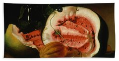 Melons And Morning Glories  Beach Sheet by Raphaelle Peale