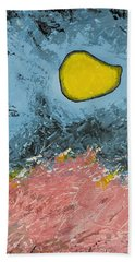 Beach Towel featuring the painting Melting Moon Over Drifting Sand Dunes by Ben Gertsberg