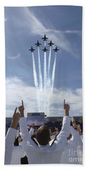 Members Of The U.s. Naval Academy Cheer Beach Towel