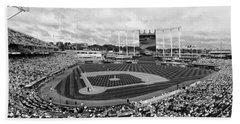 Memorial Day At Kauffman Stadium Bw Beach Towel