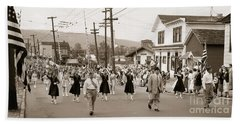 Memorial Day Parade Ashley Pa With Train Station And The Huber Colliery In Background 1955 Beach Towel