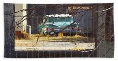 Memories Of Old Blue, A Car In Shantytown.  Beach Towel