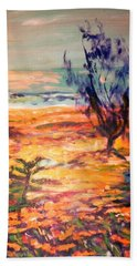 Beach Towel featuring the painting Memory Pandanus by Winsome Gunning