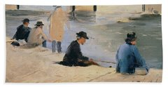 Men Fishing From A Jetty Beach Towel