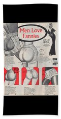 Beach Towel featuring the digital art Men Love Fannies by ReInVintaged