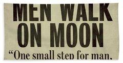 Men Walk On Moon Newspaper Beach Towel