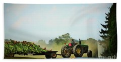 Menonnite Tobacco Farmer And Wife Beach Towel