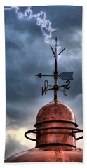 Menorca Copper Lighthouse Dome With Lightning Rod Under A Bluish And Stormy Sky And Lightning Effect Beach Towel