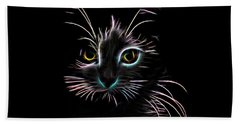 Beach Towel featuring the digital art Meow  by Aaron Berg