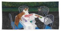 Meowjongg - Cats Playing Mahjongg Beach Sheet