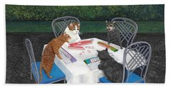 Meowjongg - Cats Playing Mahjongg Beach Sheet