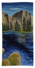 Merced River, Yosemite Park Beach Towel