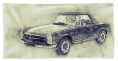 Mercedes-benz 280sl Roadster - 1967 - Automotive Art - Car Posters Beach Towel