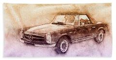 Mercedes-benz 280sl Roadster 2 - 1967 - Automotive Art - Car Posters Beach Towel