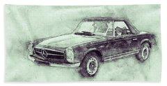 Mercedes-benz 280sl Roadster 3 - 1967 - Automotive Art - Car Posters Beach Towel