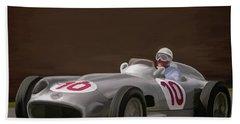 Mercedes-benz W196 Number 10 Beach Sheet by Wally Hampton