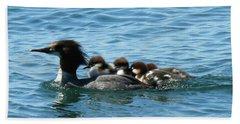 Merganser And Her Chicks Beach Sheet
