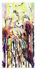 Beach Towel featuring the painting Merging. Flamingos by Zaira Dzhaubaeva