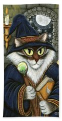 Beach Towel featuring the painting Merlin The Magician Cat by Carrie Hawks