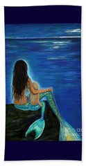 Beach Towel featuring the painting Mermaid And Her Daughter by Leslie Allen