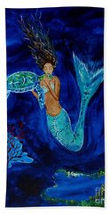 Mermaid And The Sea Turtle Beach Towel