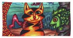 Mermaid Cat Fish Sealife Art Beach Towel