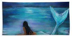 Mermaid Moon And Stars Beach Towel