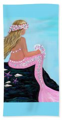 Beach Towel featuring the painting Mermaid Sweetie by Leslie Allen