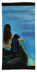 Beach Towel featuring the painting Mermaids Loyal Bud by Leslie Allen