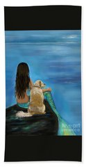 Beach Towel featuring the painting Mermaids Loyal Buddy by Leslie Allen