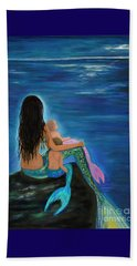 Beach Towel featuring the painting Mermaids Sweet Little Ones by Leslie Allen