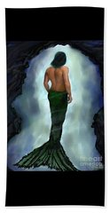 Beach Towel featuring the painting Merman Below by Leslie Allen