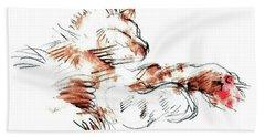 Beach Sheet featuring the mixed media Merph Chillin' - Pet Portrait by Carolyn Weltman