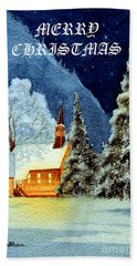 Merry Christmas Card Yosemite Valley Chapel Beach Towel by Bill Holkham