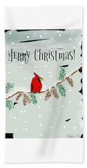 Merry Christmas Cardinal Beach Towel