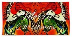 Merry Christmas Dancing Musical Horses Beach Towel by Scott D Van Osdol