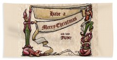 Merry Christmas Elves Beach Towel by Kevin Middleton