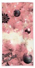 Merry Christmas In Pink Beach Towel