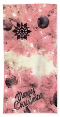 Merry Christmas In Pink Beach Towel