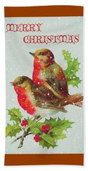 Merry Christmas Snowy Bird Couple Beach Sheet by Sandi OReilly
