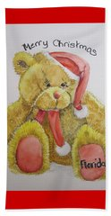 Merry Christmas Teddy  Beach Towel